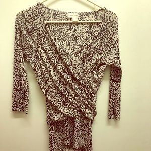 Black and ivory block print blouse